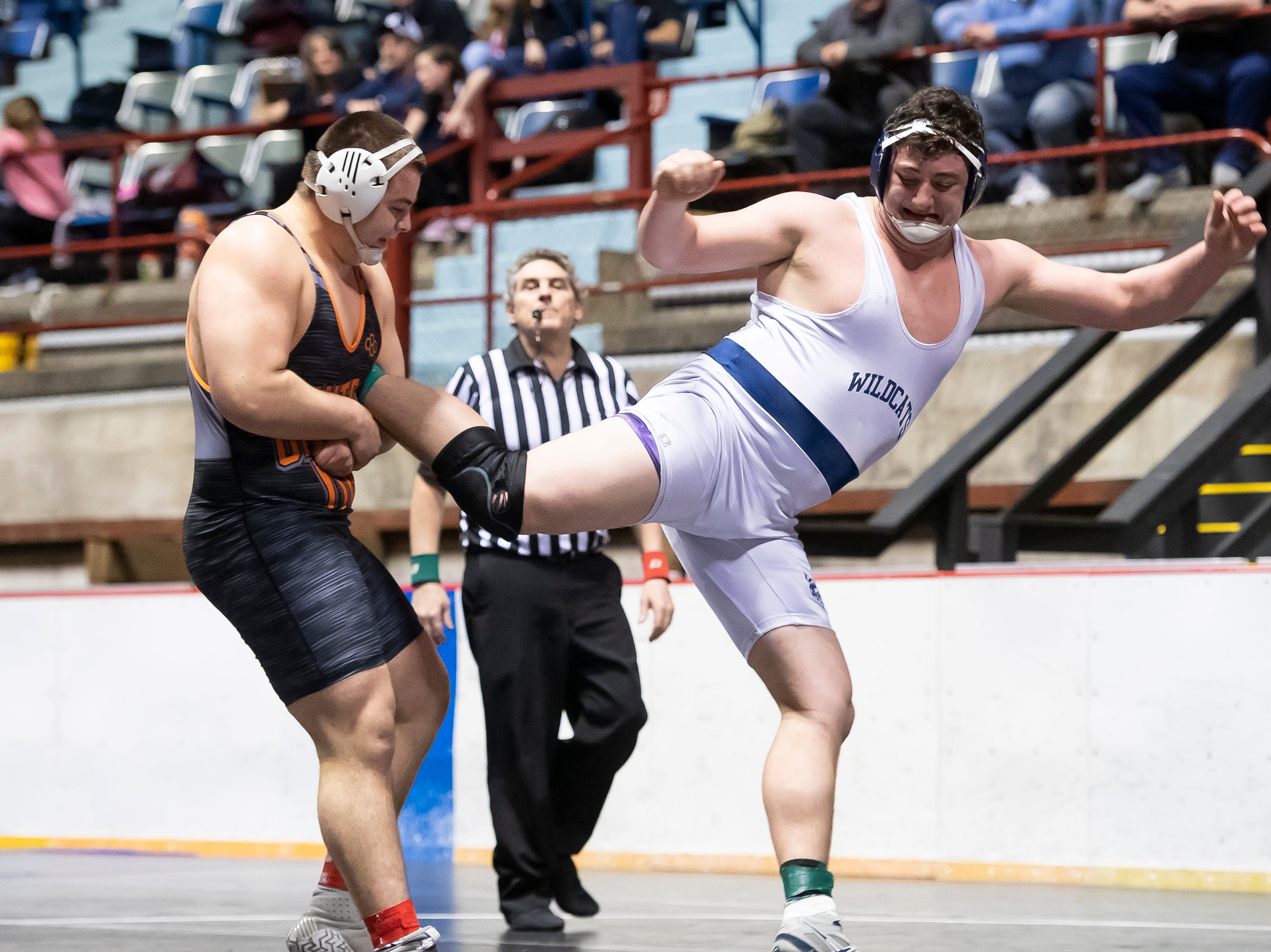 Central York's Michael Wolfgram controls Dallastown's Raymond Christas during a 285-pound championship bout at the District 3 wrestling championships at Hersheypark Arena Saturday, February 23, 2019. Wolfgram won by tech fall 24-9 5:08.