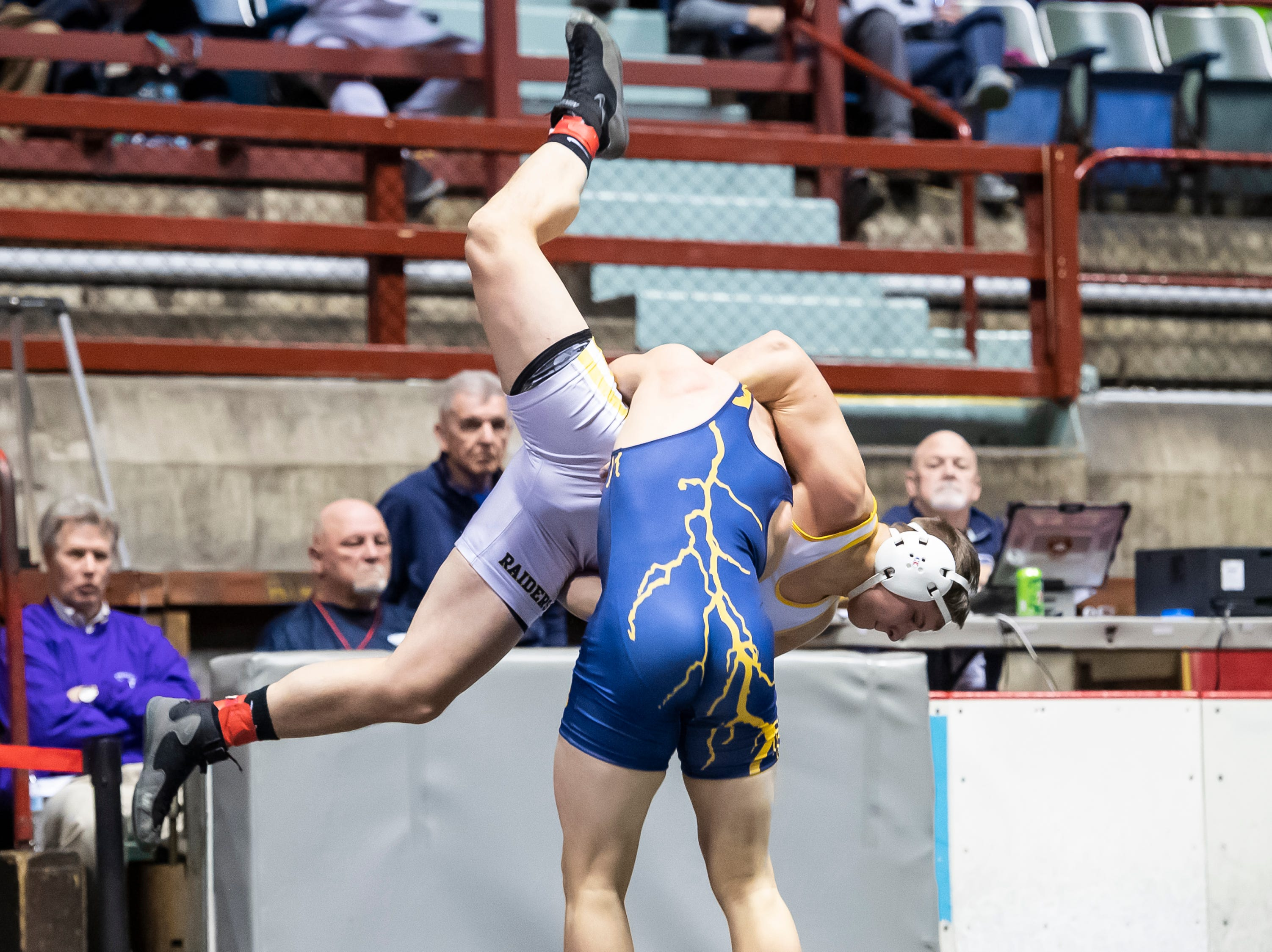 Littlestown's Jason Penton takes down Eastern Lebanon's Trey Donmoyer during a 182-pound championship bout at the District 3 wrestling championships at Hersheypark Arena Saturday, February 23, 2019. Penton won by decision 6-1.