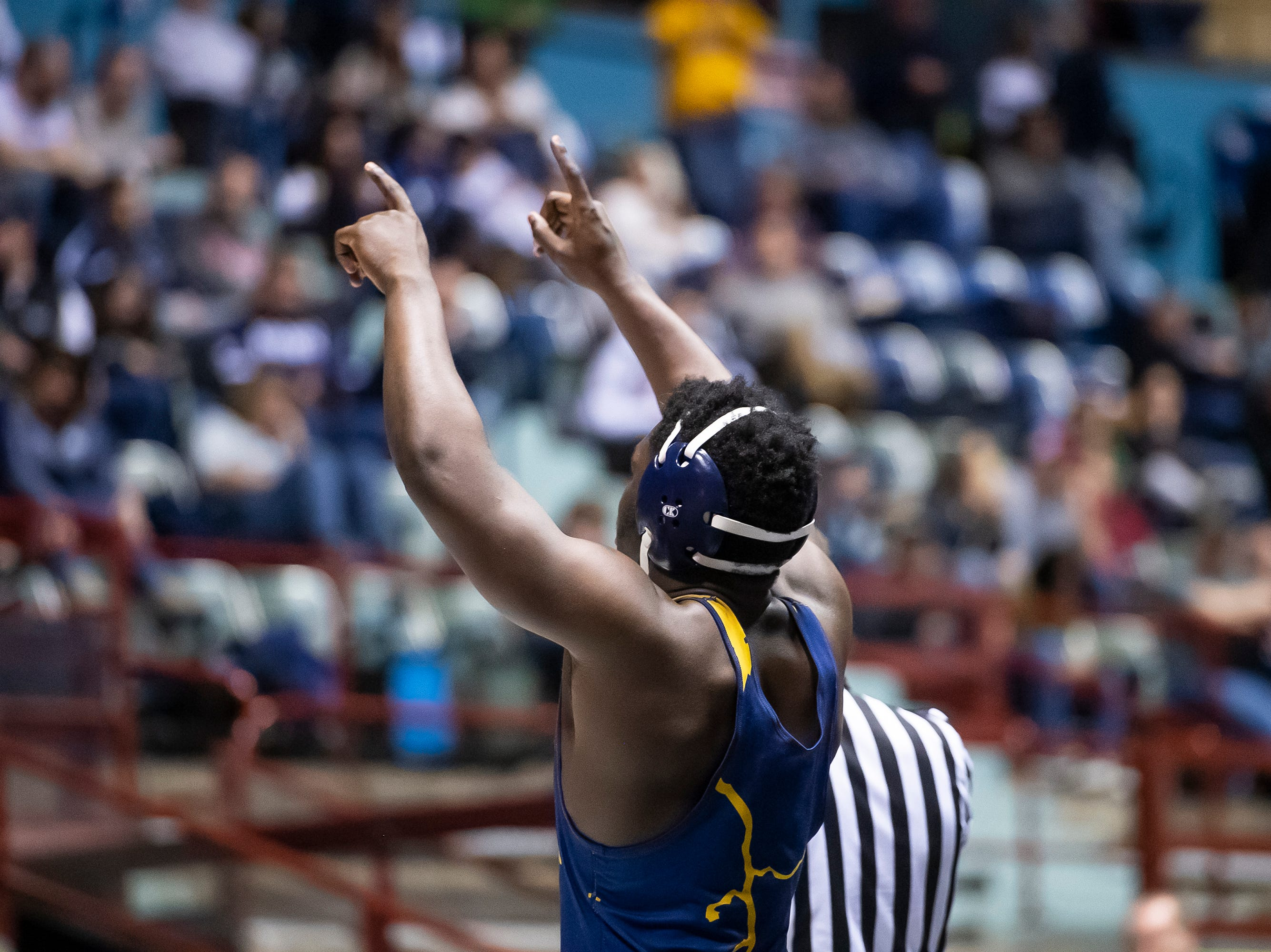 Littlestown's Carl Harris points to the crowd after defeating Hamburg's Brendan Hamilton during a 170-pound championship bout at the District 3 wrestling championships at Hersheypark Arena Saturday, February 23, 2019. Harris won by decision 7-4.