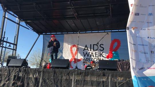 Tempe Mayor Mark Mitchell speaks on stage.