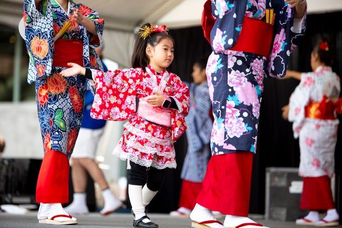 Arizona Ondo Kai performs Japanese folk dances during the Matsuri Festival of Japan at Heritage and Science Park on Sunday, Feb. 24, 2019.