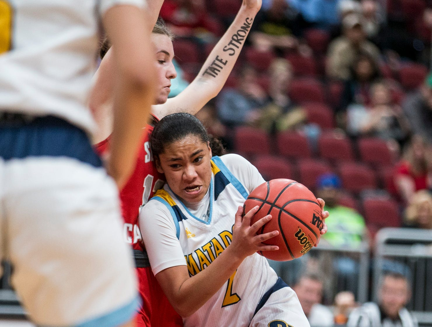 Shadow Mountain's Senya Rabouin drives to the basket against Seton Catholic during the 4A girls basketball championship on Saturday, Feb. 23, 2019, at Gila River Arena in Glendale, Ariz.