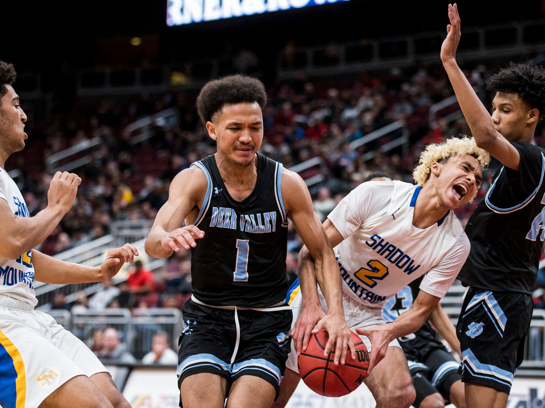 Shadow Mountain's Jaelen House drives to the basket against Deer Valley during the 4A boys basketball championship on Saturday, Feb. 23, 2019, at Gila River Arena in Glendale, Ariz.