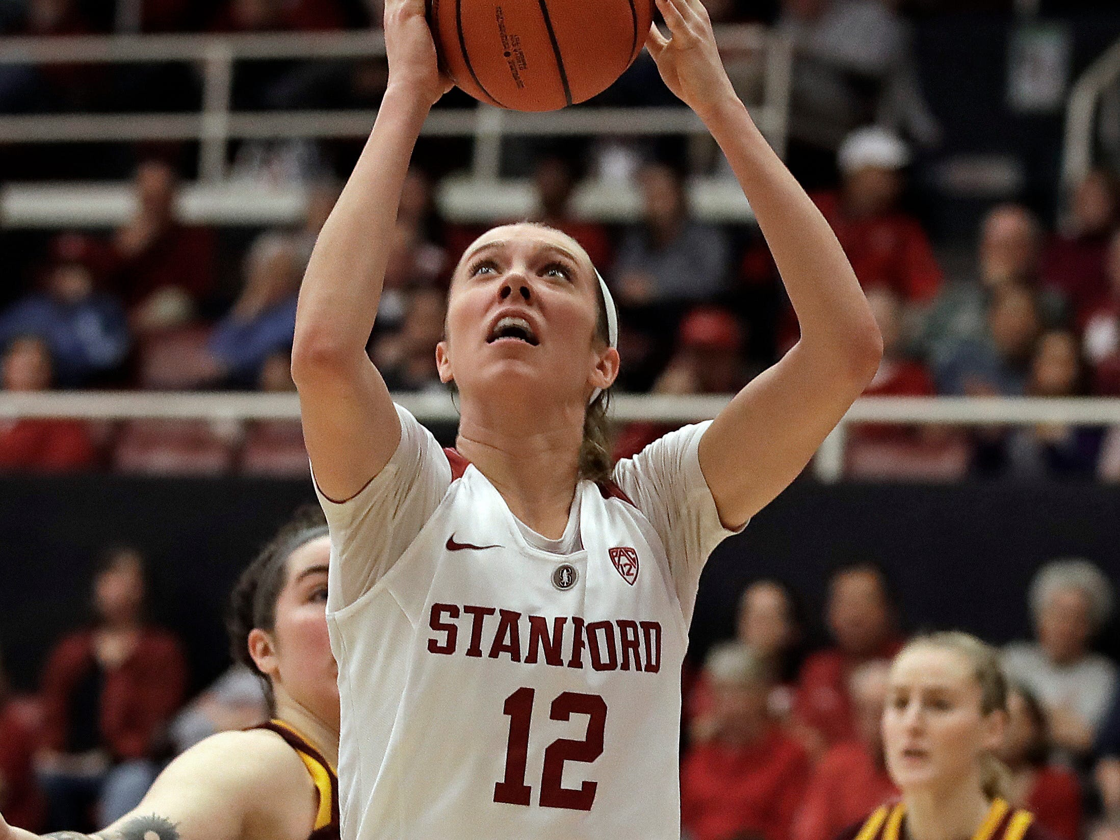 Stanford's Lexie Hull (12) shoots against Arizona State in the second half of an NCAA college basketball game Sunday, Feb. 24, 2019, in Stanford, Calif.