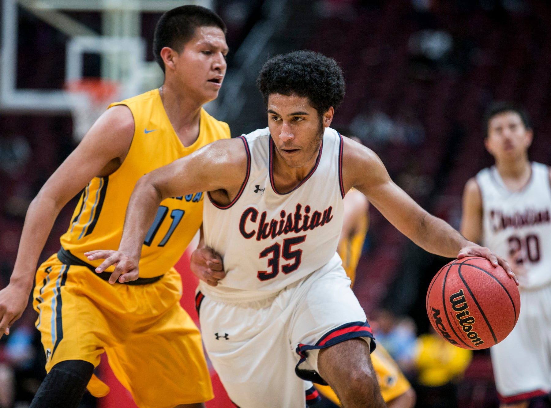 Scottsdale Christian's Darius Whitson drives downcourt against Alchesay during the 2A boys basketball championship on Saturday, Feb. 23, 2019, at Gila River Arena in Glendale, Ariz.