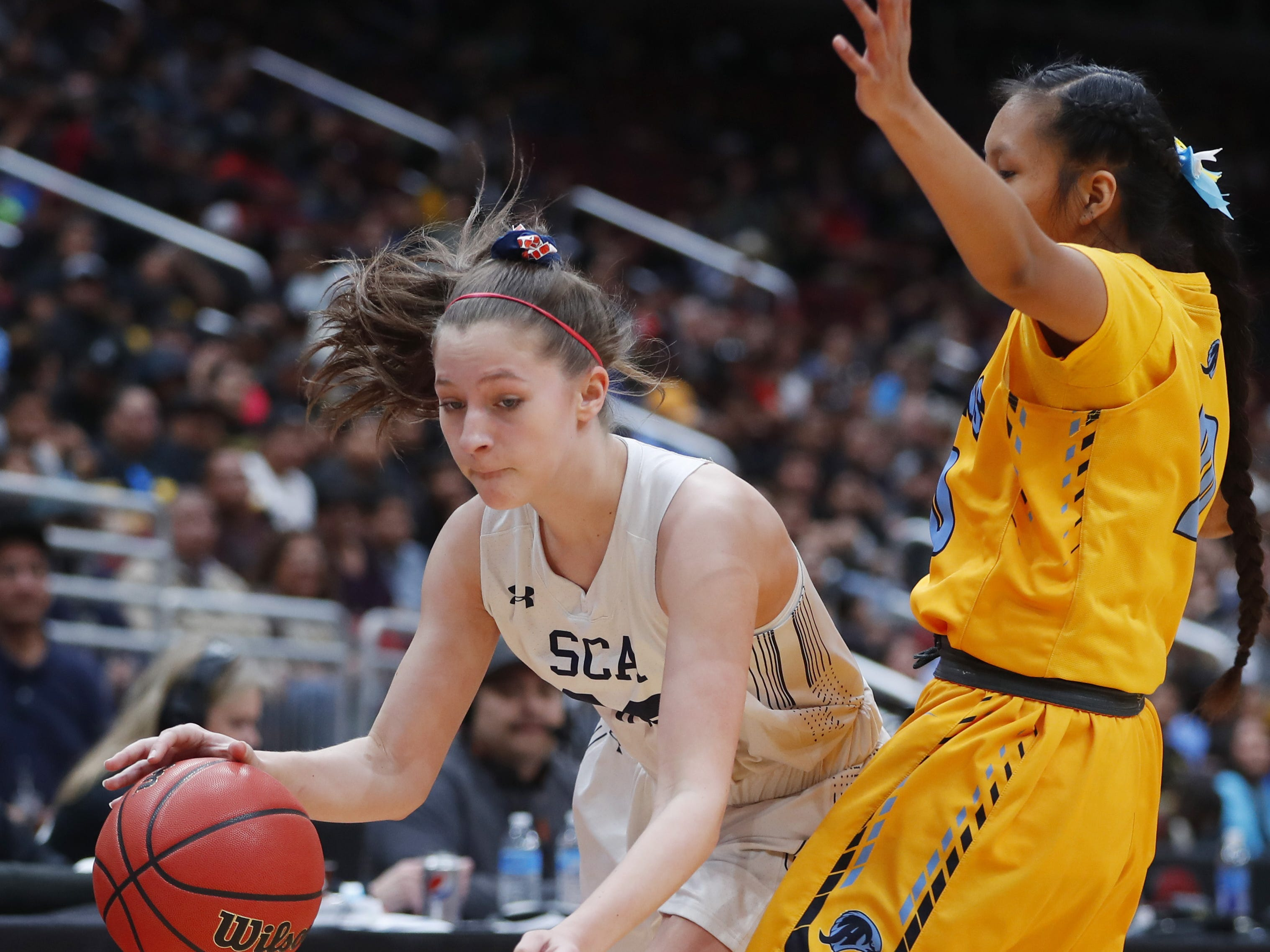 during the first half of the 2A girls basketball state championship game at Gila River Arena in Glendale, Ariz. on February 23, 2019.