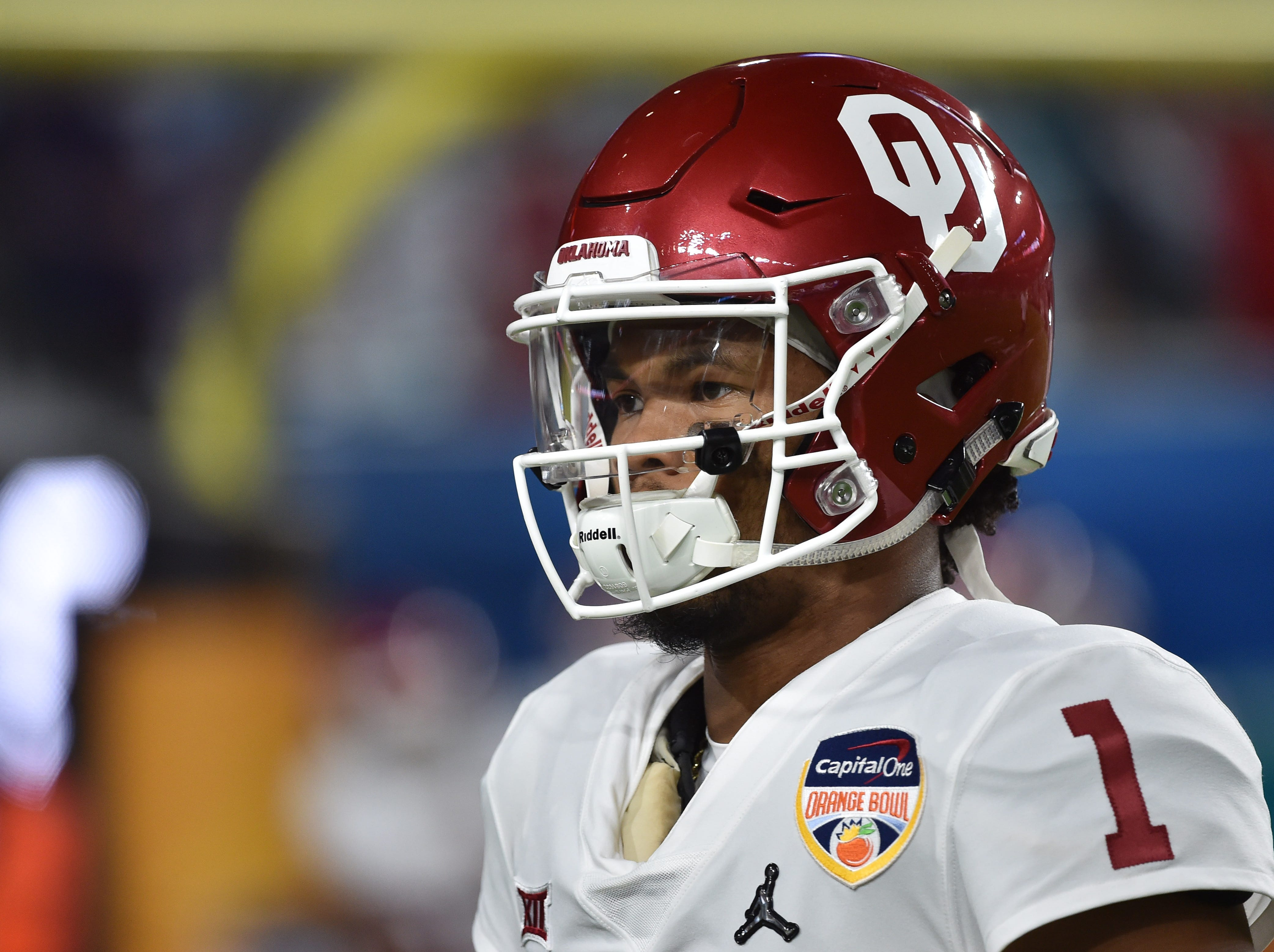 Oklahoma quarterback Kyler Murray looks on from the field prior to the start of the Orange Bowl on Dec. 29.