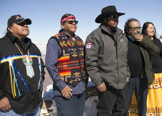 U.S. Rep. Raúl Grijalva (second-from-right) stands with tribal leaders at the Grand Canyon on Saturday, Feb. 23, 2019. Grijalva, D-Arizona, was at the Grand Canyon Saturday to announce his Grand Canyon Centennial Protection Act, which would permanently ban uranium mining near the Grand Canyon.