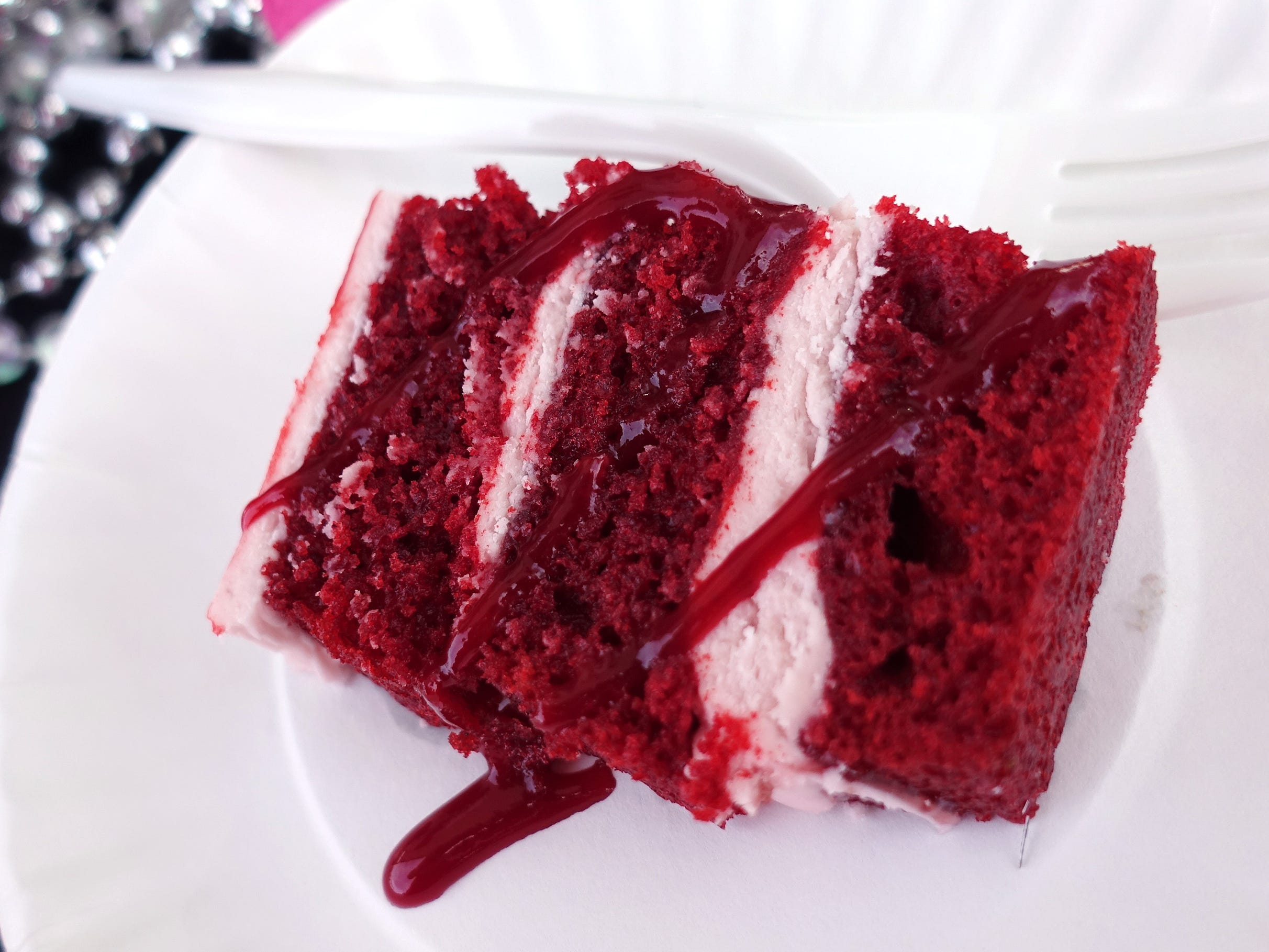 Raspberry red velvet cake with raspberry jam and raspberry cream from Tracy Dempsey Originals at the 2019 Devour Culinary Classic at the Desert Botanical Garden in Phoenix.