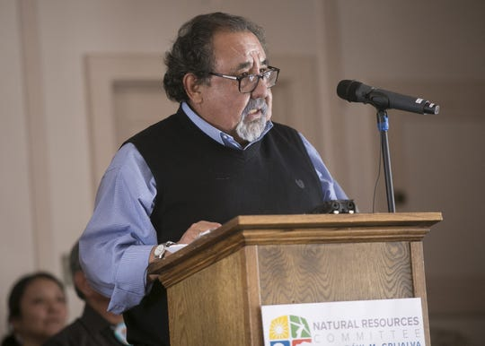 U.S. Rep. Raúl Grijalva speaks at the Grand Canyon on Saturday, Feb. 23, 2019. Grijalva, D-Arizona, was at the Grand Canyon to announce his Grand Canyon Centennial Protection Act, which would permanently ban uranium mining near the Grand Canyon.