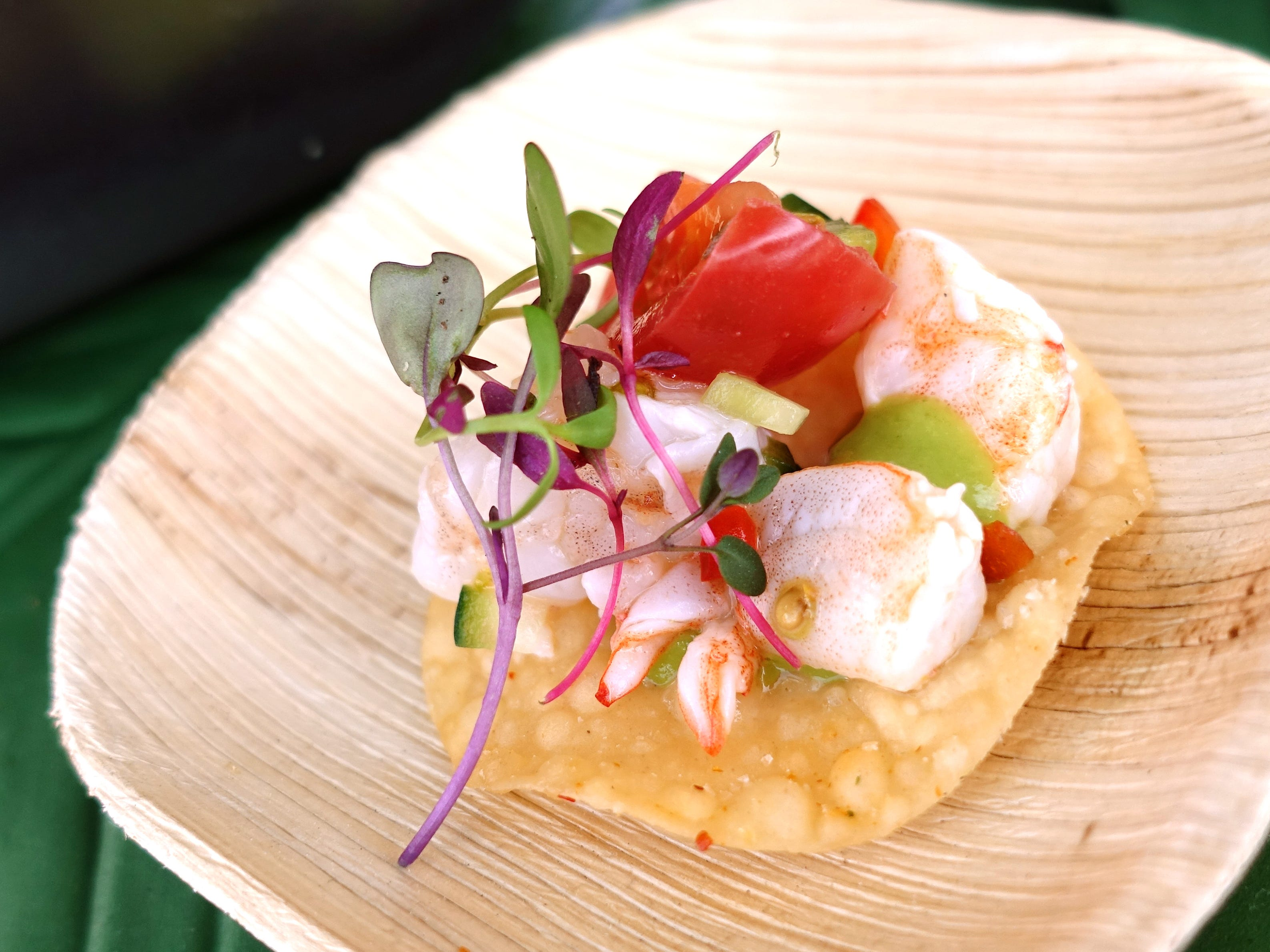 Shrimp ceviche with yuzu marinade, avocado puree, wonton chip, heirloom tomato and lime zest from Across The Pond at the 2019 Devour Culinary Classic at the Desert Botanical Garden in Phoenix.
