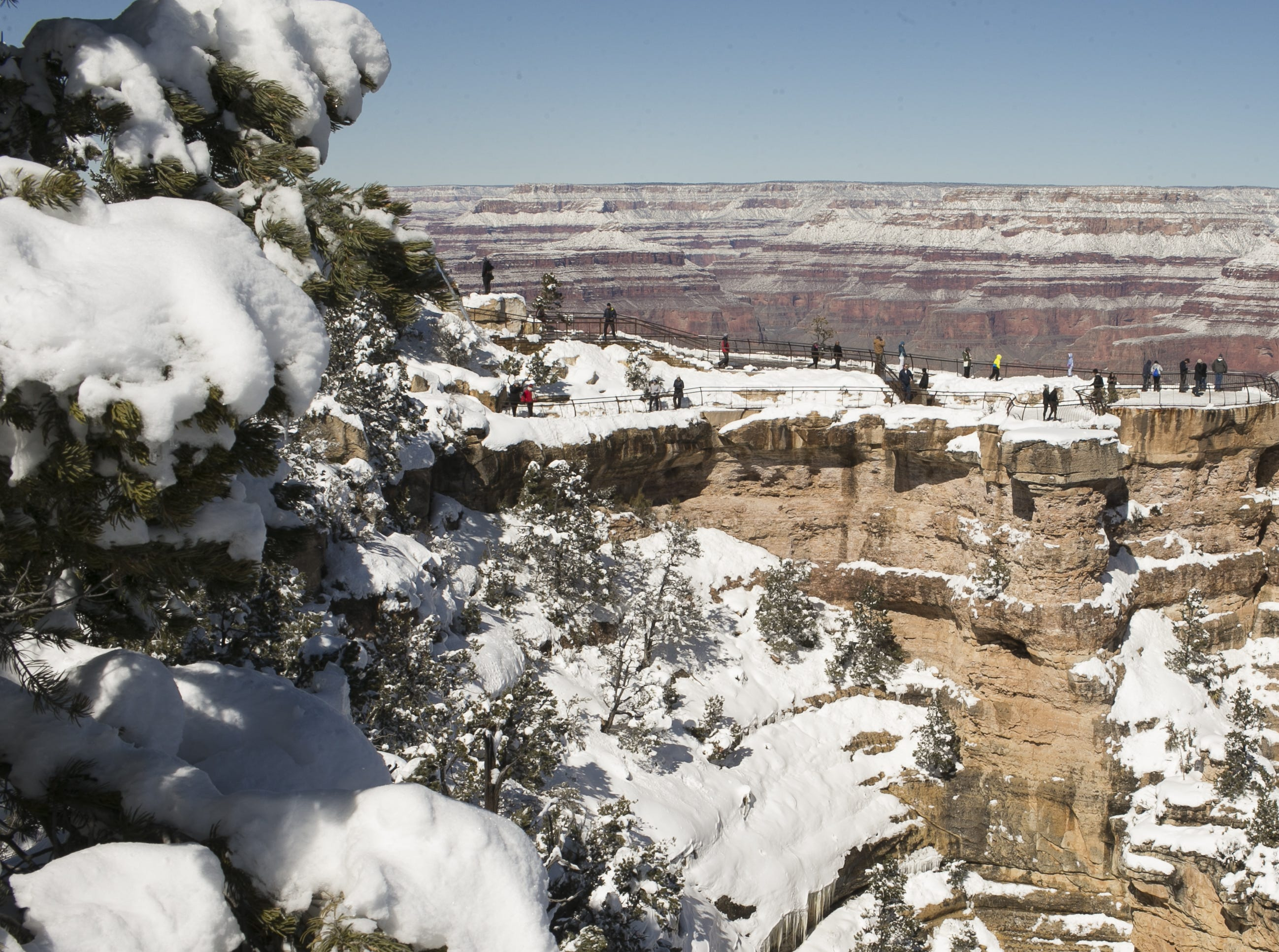 Snow rests on the Grand Canyon on Feb. 23, 2019.