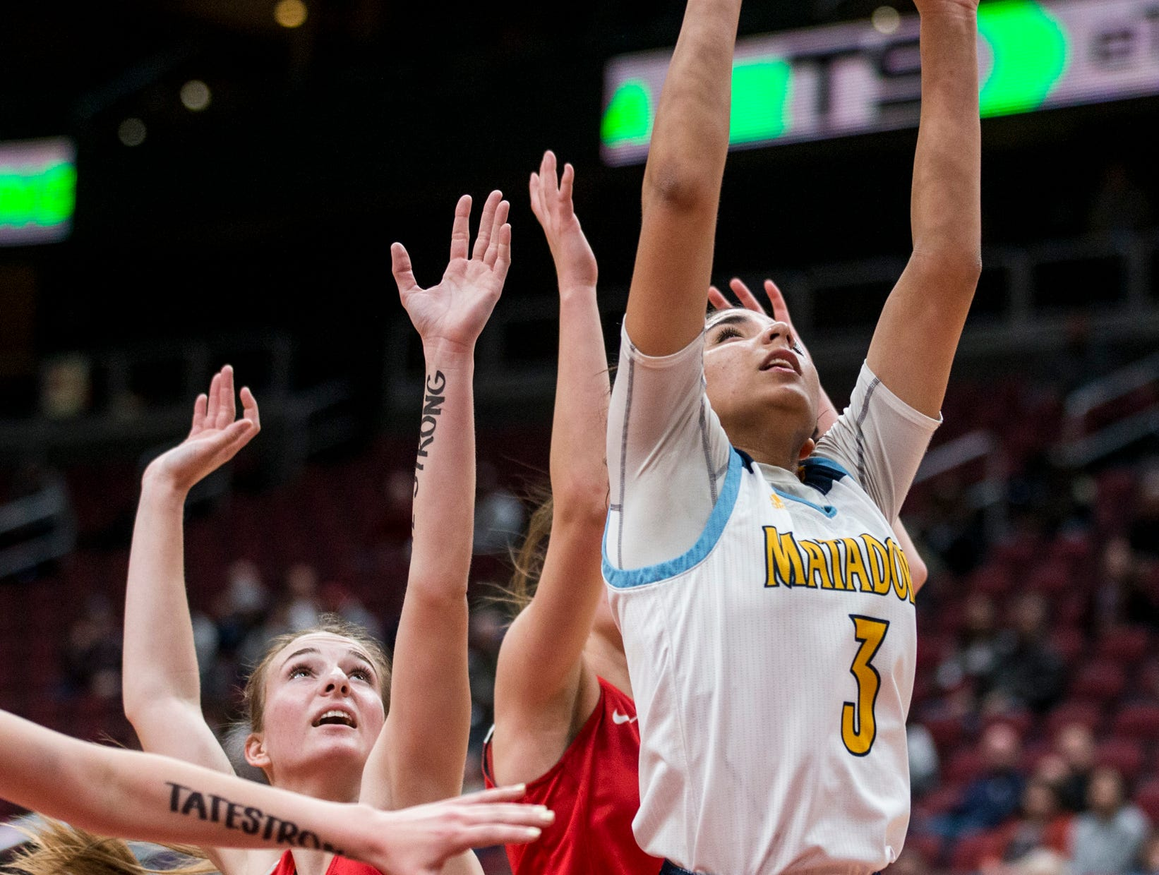 Shadow Mountain's Zhane Jordan attempts a layup against Seton Catholic during the 4A girls basketball championship on Saturday, Feb. 23, 2019, at Gila River Arena in Glendale, Ariz.