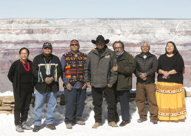 U.S. Rep. Raúl Grijalva (third-from-right) stands with tribal leaders at the Grand Canyon on Saturday, Feb. 23, 2019. Grijalva, D-Arizona, was at the Grand Canyon Saturday to announce his Grand Canyon Centennial Protection Act, which would permanently ban uranium mining near the Grand Canyon.