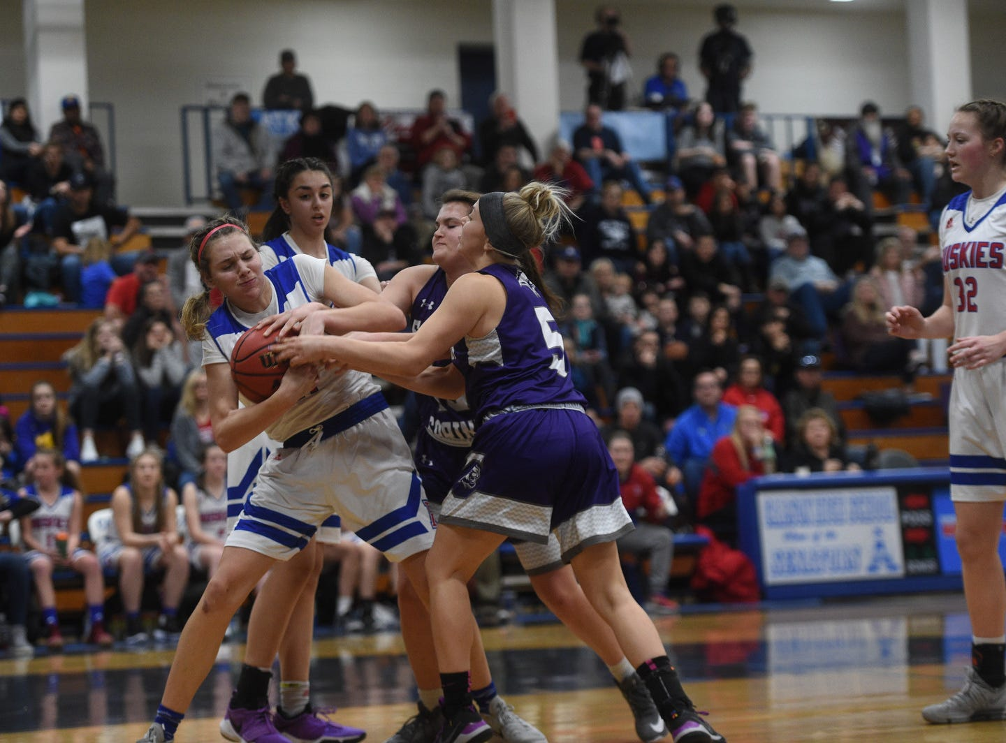 Spanish Springs takes on Reno during the girls Northern Region Basketball Championship game in Carson City on Feb. 23, 2019.