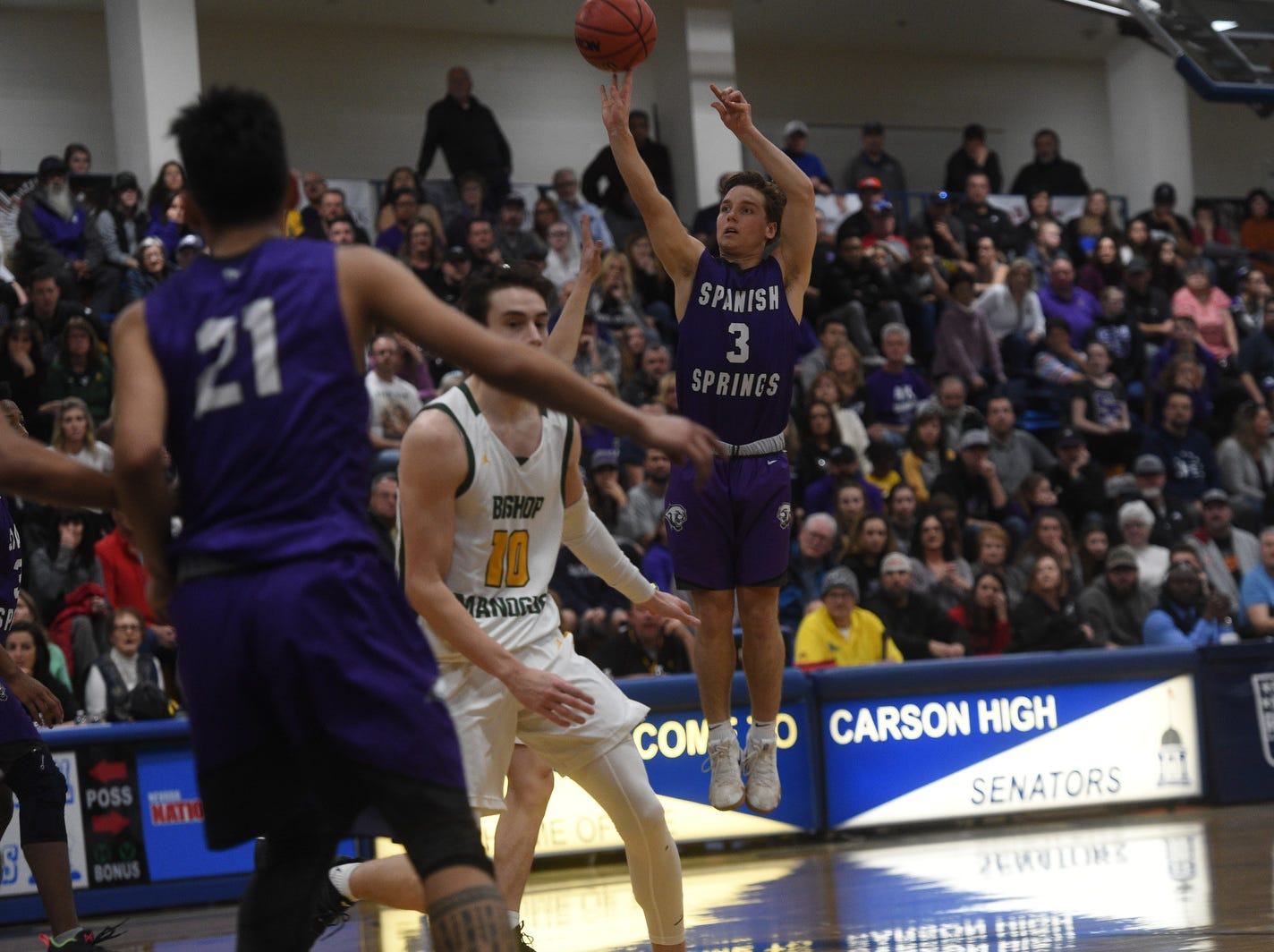 Bishop Manogue takes on Spanish Springs during the Northern Region Basketball Championship game in Carson City on Feb. 23, 2019.