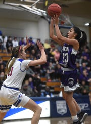 Spanish Springs' Serena Sanchez shoots while taking on Reno during the Northern Region Basketball Championship game in Carson City on Feb. 23, 2019.