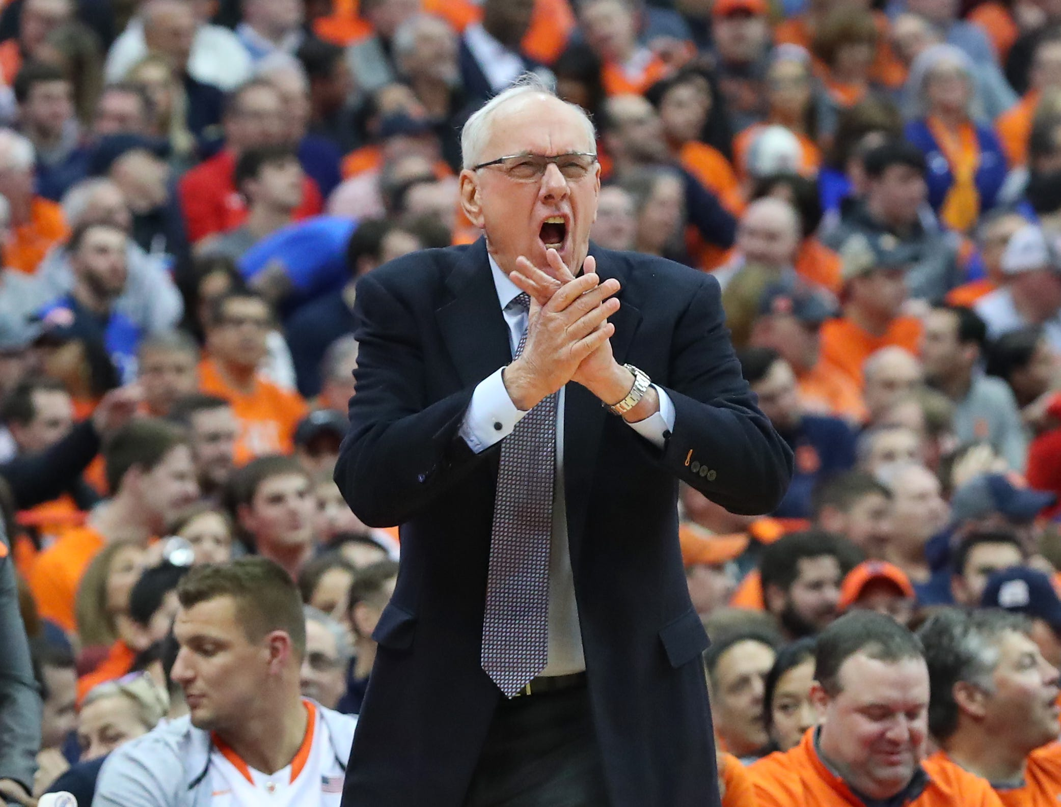 SYRACUSE, NY - FEBRUARY 23:  Head coach Jim Boeheim of the Syracuse Orange reacts to a play against the Duke Blue Devils during the first half at the Carrier Dome on February 23, 2019 in Syracuse, New York. (Photo by Rich Barnes/Getty Images)