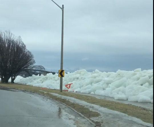 Winds blow piles of ice onto shore from the Niagara River in Ontario, Cananda, just across the border from Buffalo.