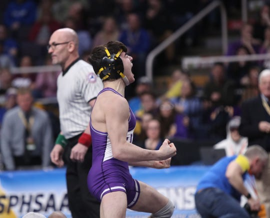 Honeoye Falls-Lima's Anthony Noto wrestles Micah Roes from Lowville in the 113-pound final match of the NYSPHSAA championships at the The Times Union Center in Albany on Saturday, February 23, 2019.