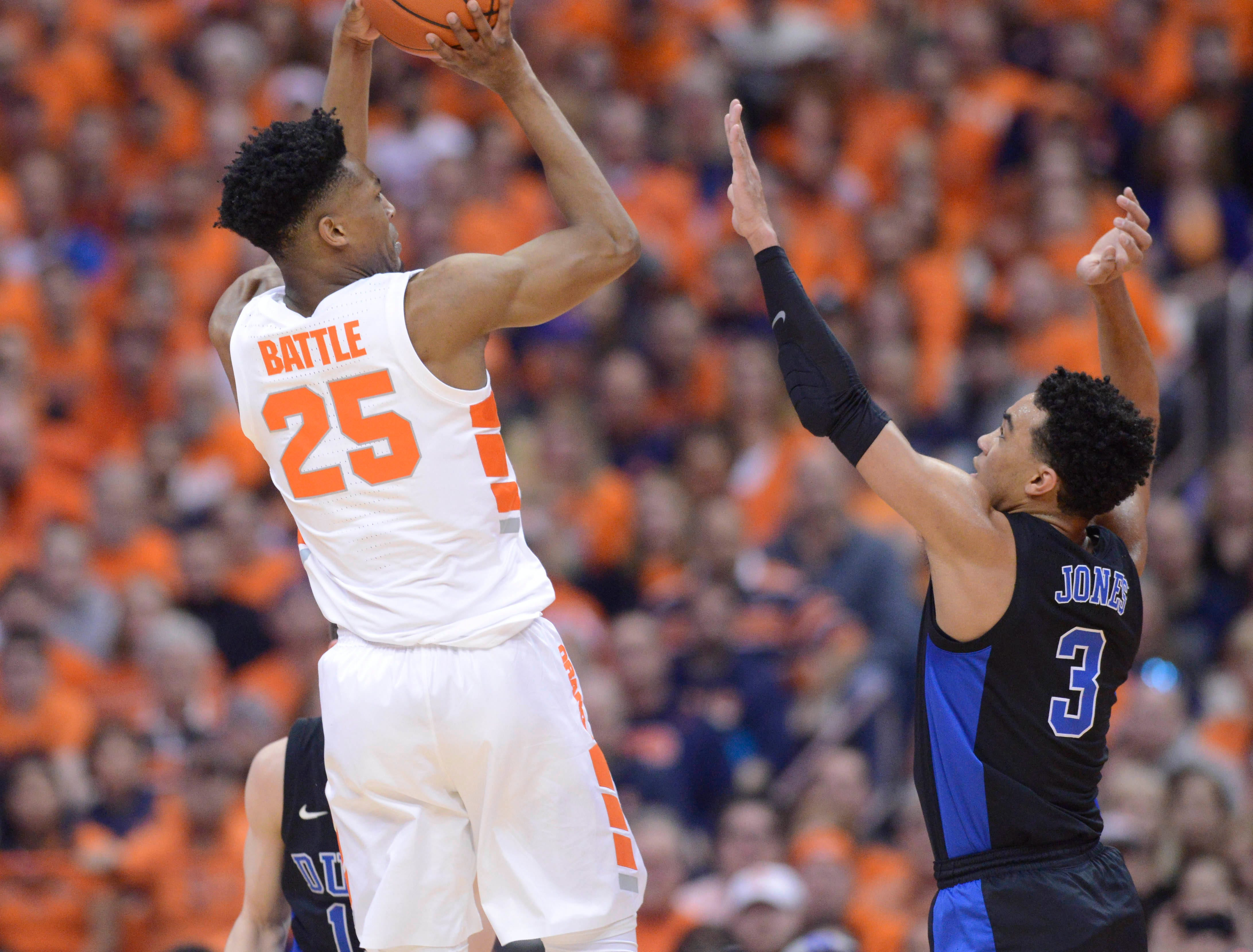Feb 23, 2019; Syracuse, NY, USA; Syracuse Orange guard Tyus Battle (25) takes a jump shot as Duke Blue Devils guard Tre Jones (3) defends in the first half at the Carrier Dome. Mandatory Credit: Mark Konezny-USA TODAY Sports