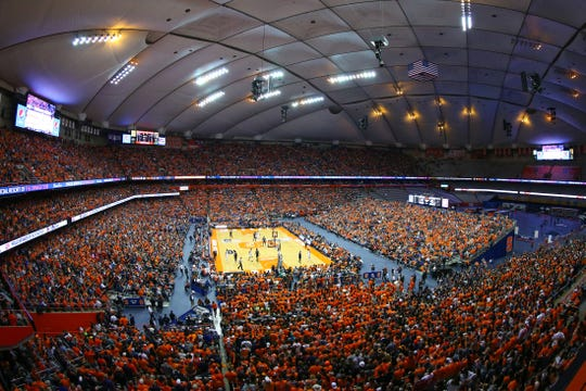 SYRACUSE, NY - FEBRUARY 23:  General view of the Carrier Dome during the game between the Duke Blue Devils and the Syracuse Orange in the second half on February 23, 2019 in Syracuse, New York. Duke defeated Syracuse 75-65. (Photo by Rich Barnes/Getty Images)