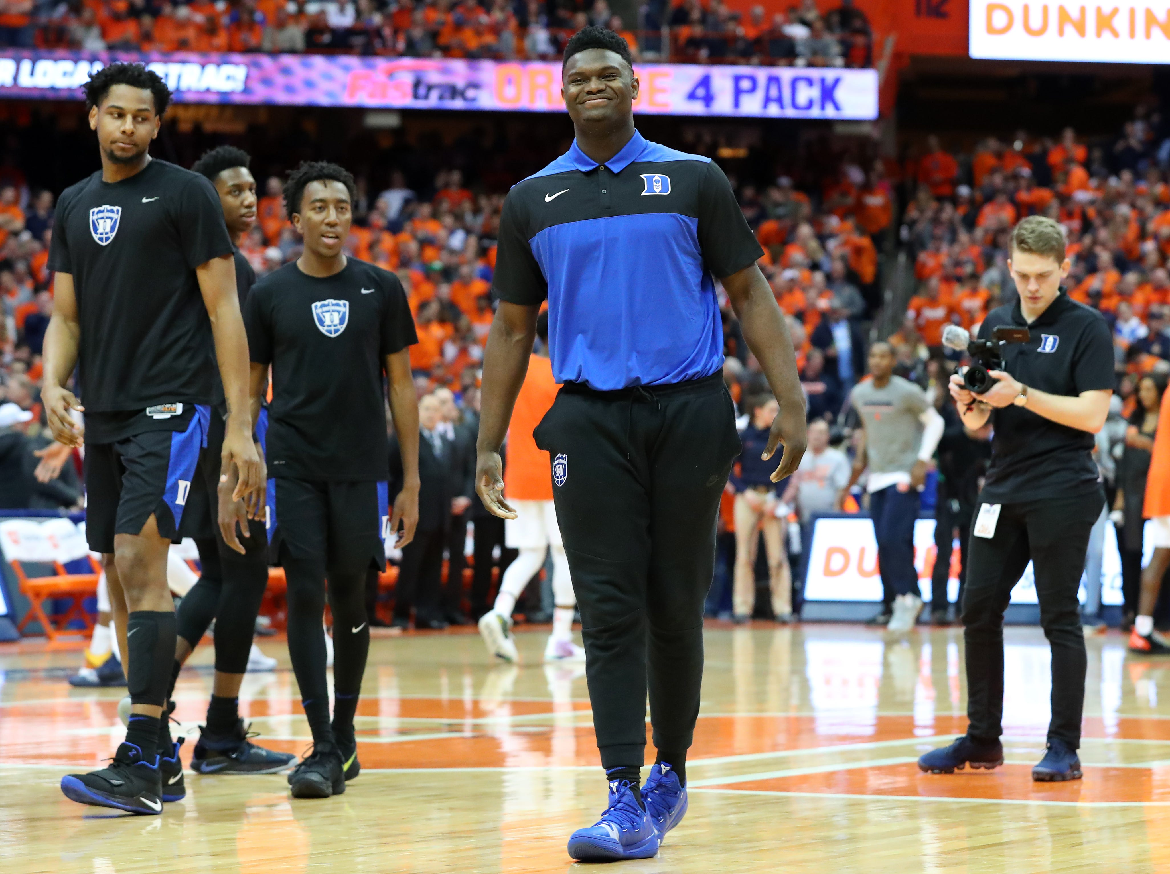 SYRACUSE, NY - FEBRUARY 23:  Zion Williamson #1 of the Duke Blue Devils looks on prior to the game against the Syracuse Orange at the Carrier Dome on February 23, 2019 in Syracuse, New York. (Photo by Rich Barnes/Getty Images)