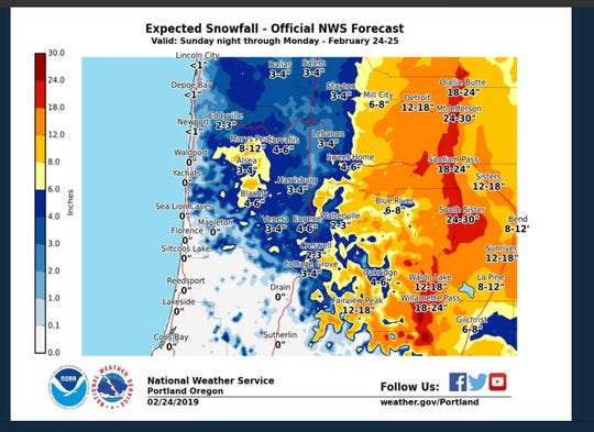 This map shows expected snow totals in the Mid-Willamette Valley.