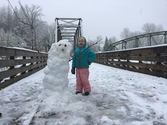 The old railroad bridge makes an attractive snowman building platform as evidenced in this February 2019 photo.