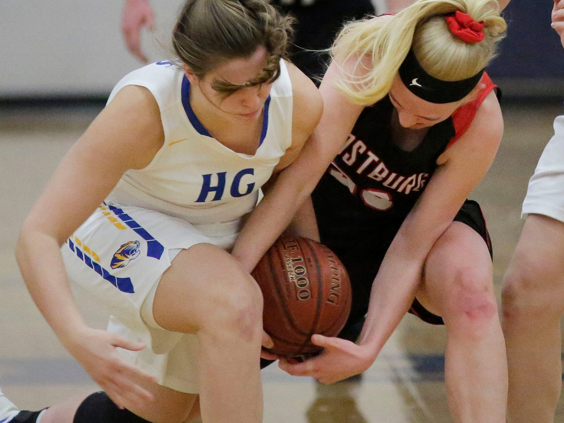Howards Grove's Sara Marten (left) works to try and pry the ball from Oostburg's Ella TenPas, Saturday, February 23, 2019, at Howards Grove, Wis.