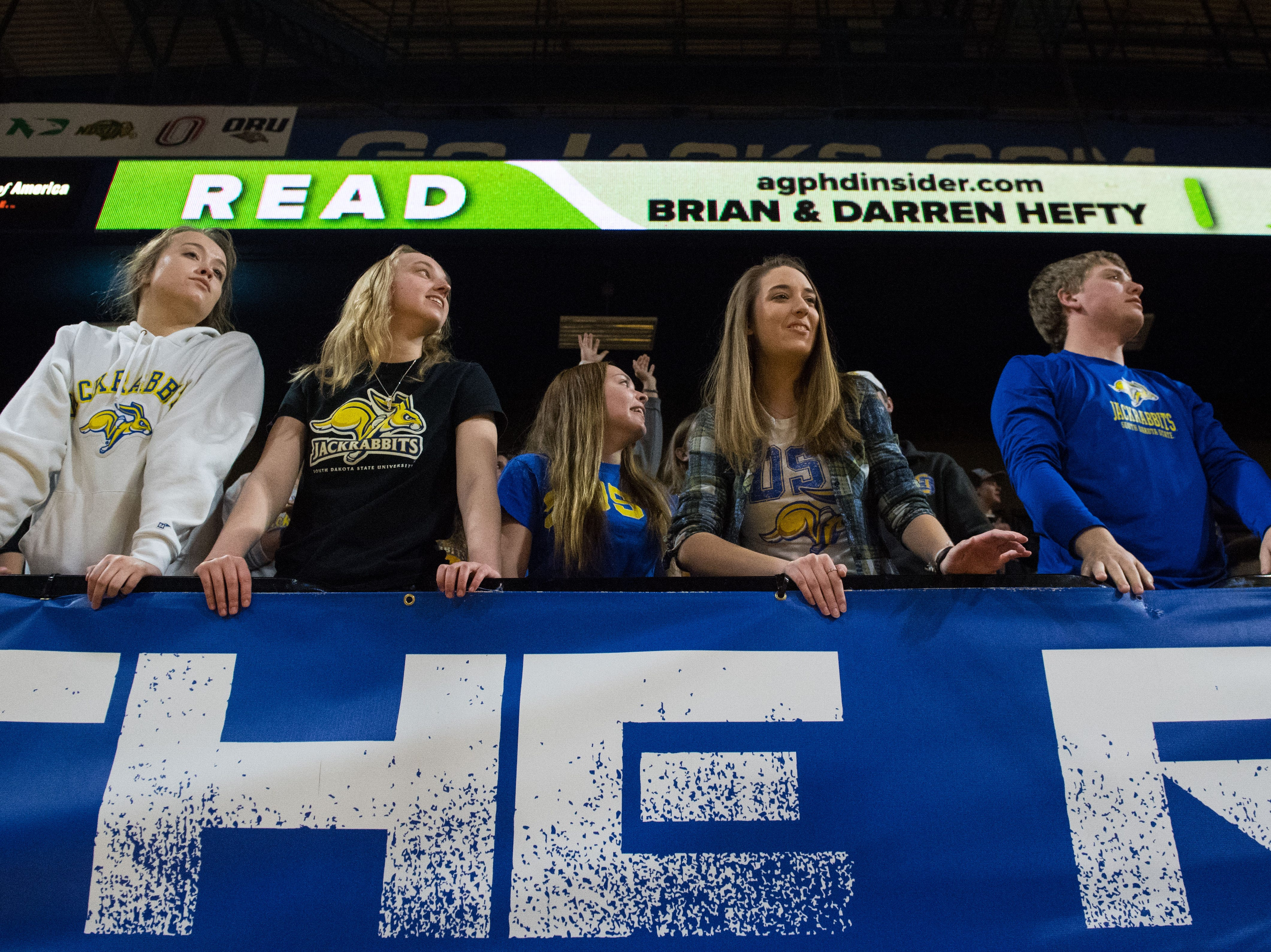 SDSU fans react during a game against USD, Saturday, Feb. 23, 2019 in Brookings, S.D.