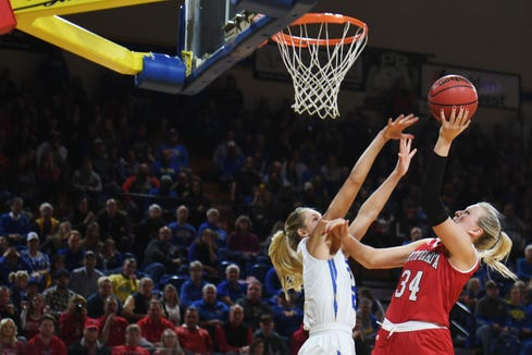 USD's Hannah Sjerven takes a shot against SDSU during the game Sunday, Feb. 24, at Frost Arena in Brookings.