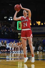 USD's Ciara Duffy takes the shot during the game against SDSU Sunday, Feb. 24, at Frost Arena in Brookings.