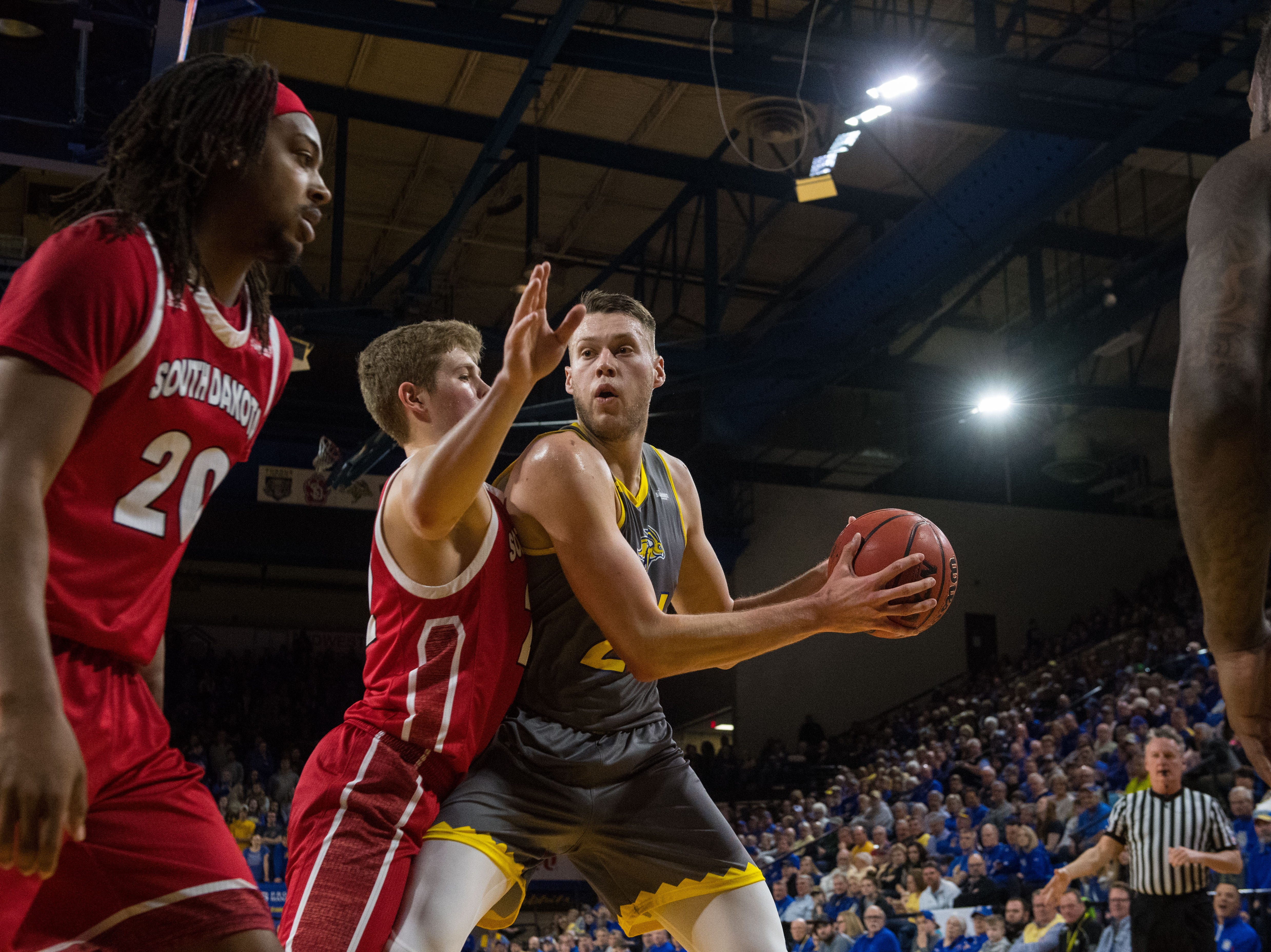 SDSU's Mike Daum (24) looks to pass the ball during a game against USD, Feb. 23, 2019 in Brookings, S.D.
