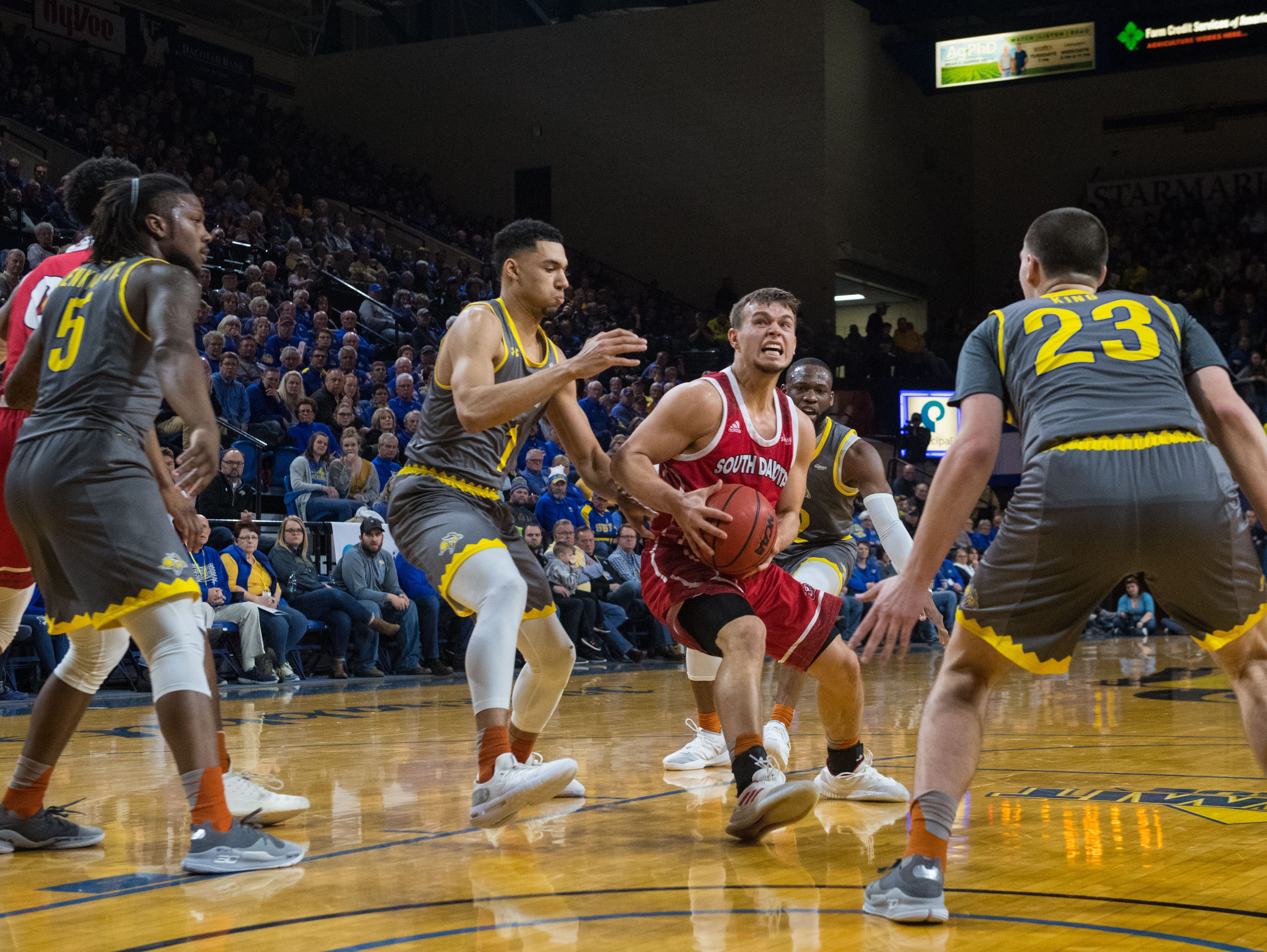 USD's Cody Kelley (10) dribbles the ball during a game against SDSU, Saturday, Feb. 23, 2019 in Brookings, S.D.