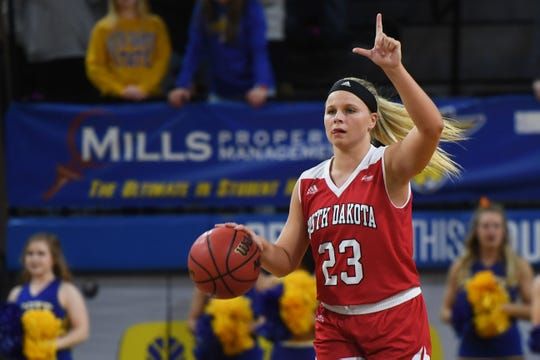 USD's Madison McKeever during the game against SDSU  Sunday, Feb. 24, at Frost Arena in Brookings.