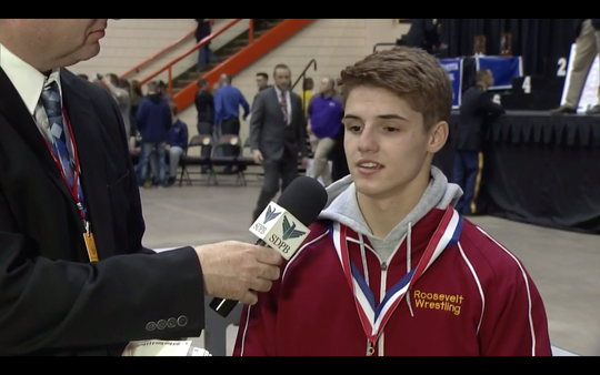 Roosevelt sophomore Riley Hollingshead talks with SDPB after winning the A-120 title.