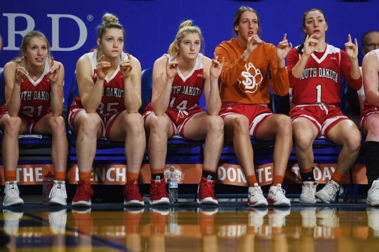 USD's sideline during the game against SDSU Sunday, Feb. 24, at Frost Arena in Brookings.