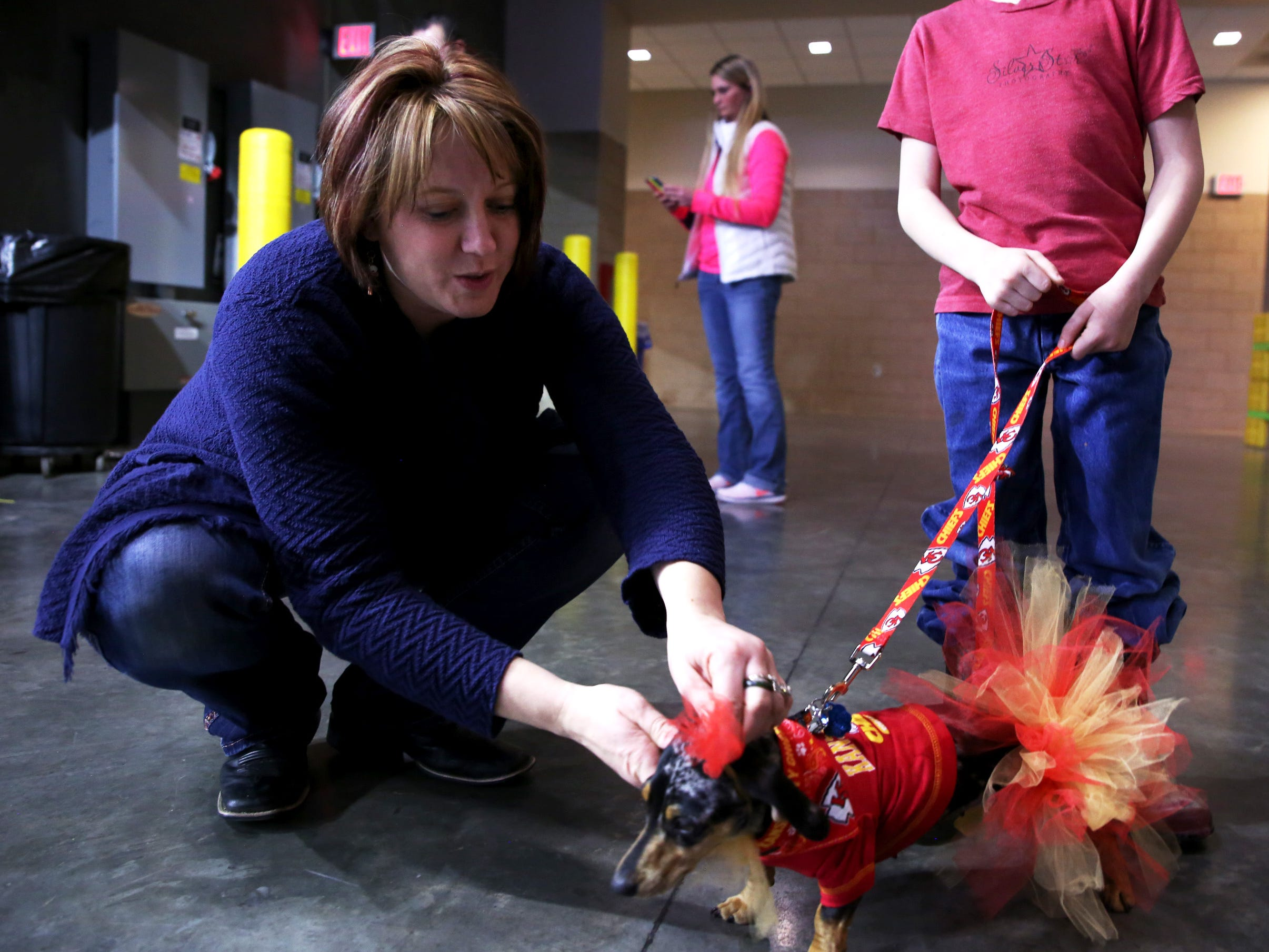 Amber Shane fixes her dog, Pepper's, collar during a Stampede game against the Omaha Lancers at the Denny Sanford Premier Center Feb. 23, 2019. Pepper was dressed in Kansas City Chiefs attire.