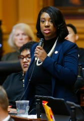 Virginia Del. Del. Lashrecse Aird, D-Petersburg, spoke against a hearing that has been announced with the two accusers and Lt. Gov Justin Fairfax, during the House session at the Capitol in Richmond, Va., Friday, Feb. 22, 2019. Aird said, the justice and the due process that we seek should be by a law enforcement entity.