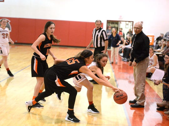 Riverheads' Sophia Leigh and Altavista's Alexis Gonzalez battle for the ball Saturday in the Region 1B championship game.