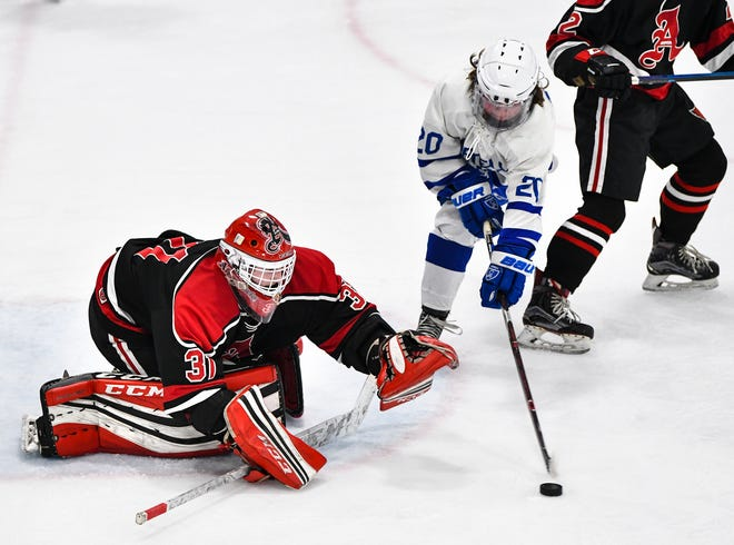 Sartell's Maddux Hagy takes a shot on Alexandria goaltender Bailey Rosch during the first period of the Section 6A semifinal game Saturday, Feb. 23, at the MAC in St. Cloud.