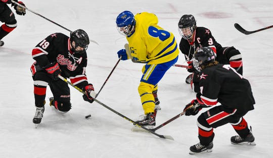 Nate Warner works against several River Lakes players during the first period of the Section 6A semifinal game Saturday, Feb. 23, at the MAC in St. Cloud.