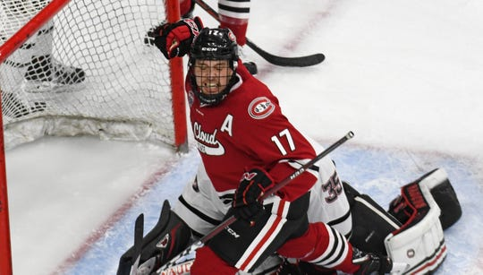 St. Cloud State senior Jacob Benson celebrates his second period goal against Nebraska-Omaha in Saturday's game at Baxter Arena.