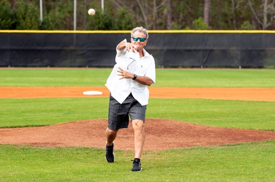 Rick Smith tosses the ceremonial first pitch for TCC's doubleheader versus Chattahoochee Valley Community College on Saturday, Feb. 23, 2019 at Eagle Field.