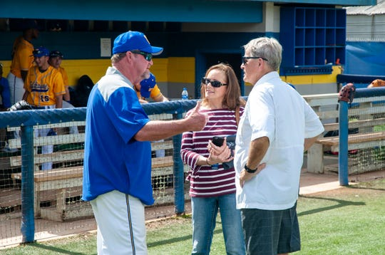 TCC baseball coach Mike McLeod (right) catches up with Rick Smith on Saturday, Feb. 23, 2019 at Eagle Field. Smith was McLeod's coach at Godby High School. He was on hand for a reunion of TCC legends from the late 1960s.