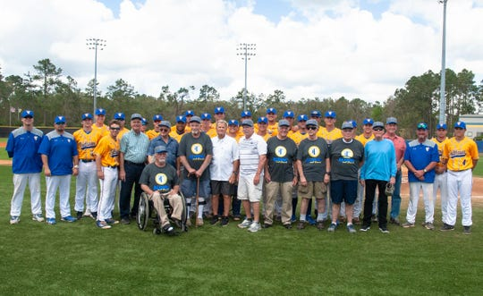 TCC's past and present was on display at Eagle Field on Saturday, Feb. 23, 2019. The former players from 1969-71 include Robert Golden, Mac Dunn, Woody Lewis, Steve Pickle, Gary McGrady, Milton Gray, Mike Manderfield, Kerry Elliott, Billy Stephens, Tom Herring and Rick Smith.