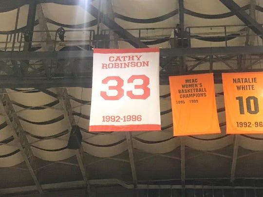 Former FAMU star Cathy Robinson's No. 33 was retired on Saturday, Feb. 23, 2019 at the Al Lawson Multipurpose Center.