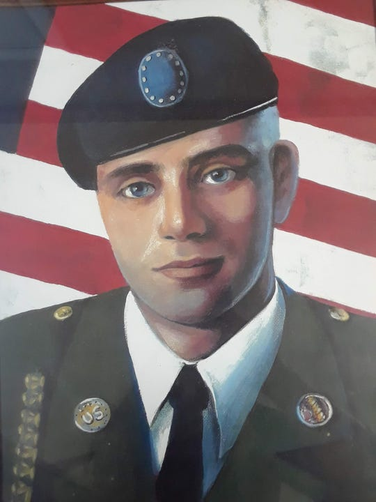 Wausau Area Silver Pageant winner Eunice Schultz painted this portrait of her grandson Tommy Tucker, who was killed in Iraq in 2006.