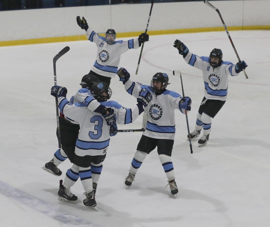 Suffern celebrates a goal by Jared Marder during the Section 1 Division 1 championship game at Sport-o-Rama in Monsey Feb. 24, 2019. Suffern defeated Mamaroneck 4-1.